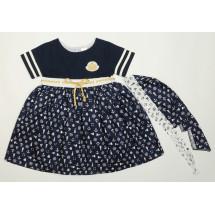 Платье летнее синего цвета с косынкой морячка