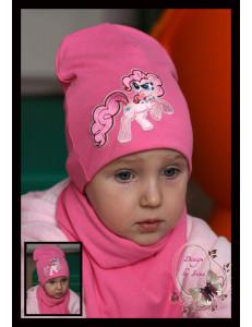 Комплект для девочек розовый (удлиненная шапка и шарф) «Пинки Пай»