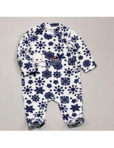 """Комбинезон для малыша из теплого флиса с синим узором """"Снежинки"""""""