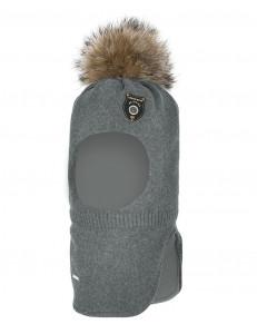 """Шапка-шлем серого цвета с помпоном для мальчиков """"Выстрел"""""""
