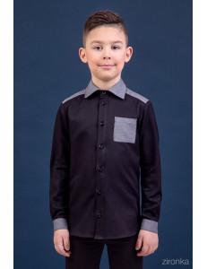Сорочка черного цвета с контрастными вставками серого цвета